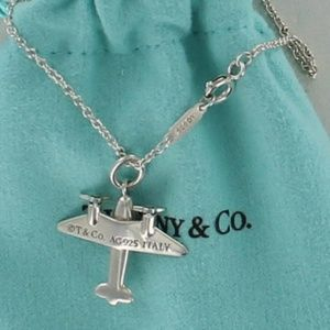 Tiffany 925 Silver AIRPLANE Pendant Charm Necklace